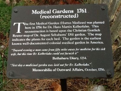 Medical Gardens 1761 Marker image. Click for full size.