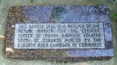 Geodetic Center of North America Bronze Disc Replica and Marker image. Click for full size.