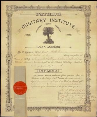 Cadet's R. G. Paine's Patrick Military Institute Diploma image. Click for full size.