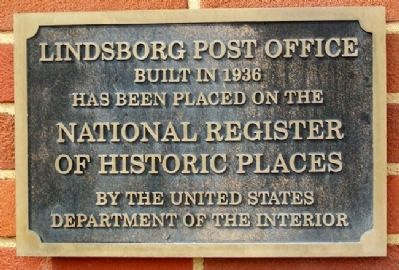 Lindsborg Post Office NRHP Marker image. Click for full size.