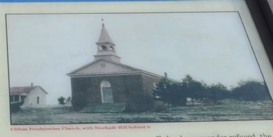 Clifton Presbyterian Church with Stockade Hill behind it image. Click for full size.