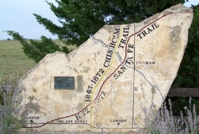 Santa Fe and Chisholm Trails Marker image. Click for full size.