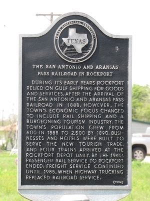 The San Antonio and Aransas Pass Railroad in Rockport Marker image. Click for full size.