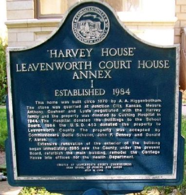"""Harvey House"" Leavenworth Court House Annex I Marker image. Click for full size."