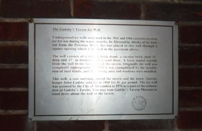 The Gadsby's Tavern Ice Well Marker image. Click for full size.