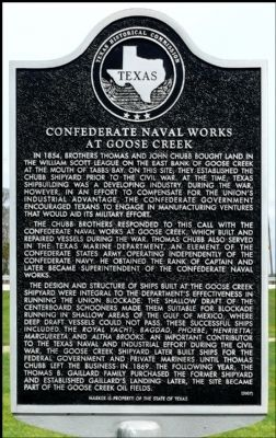 Confederate Naval Works at Goose Creek Marker image. Click for full size.