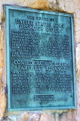 The Route of United States Army Despatch Riders / Confederate Soldiers Farthest Advance Marker image. Click for full size.