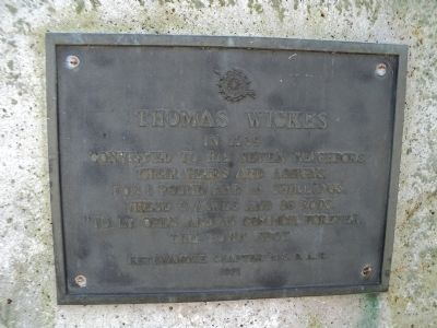 Thomas Wickes Marker image. Click for full size.