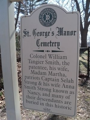 St. George's Manor Cemetery Marker image. Click for full size.