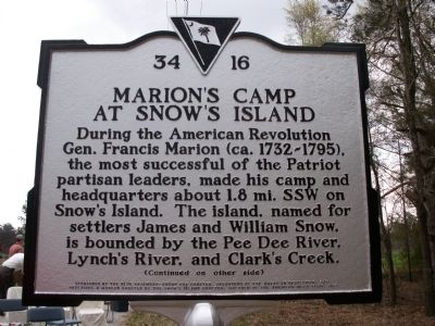 Marion's Camp at Snow's Island Marker image. Click for full size.