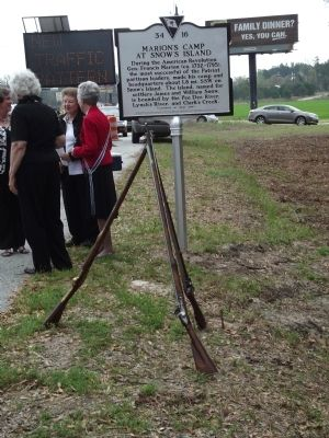 Marion's Camp at Snow's Island Marker during the unveiling ceremony image. Click for full size.