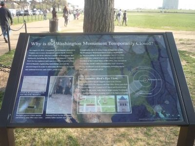"""Why is the Washington Monument Temporarily Closed?"" Marker image. Click for full size."