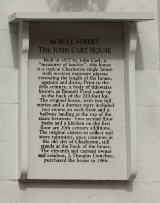 66 Bull Street The John Cart House Marker image. Click for full size.