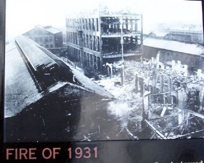 Fire of 1931 Photo on Marker image. Click for full size.