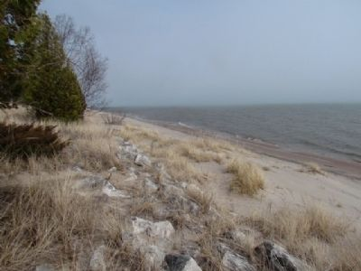 Lake Michigan shoreline near Marker. image. Click for full size.