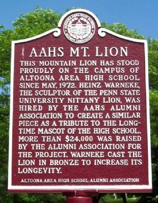 Altoona Area High School Mountain Lion Marker image. Click for full size.