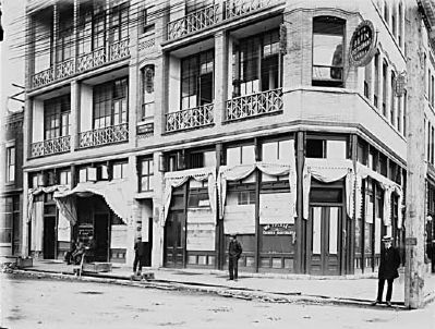 Chinese businesses damaged by race riots at north west corner of Carrall Street (at Pender) image. Click for full size.