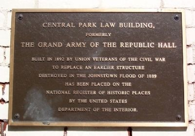 The Grand Army of the Republic Hall Marker image. Click for full size.