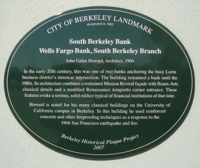 South Berkeley Bank Marker image. Click for full size.
