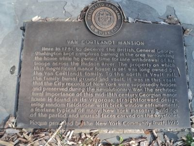 Van Cortlandt Mansion Marker image. Click for full size.