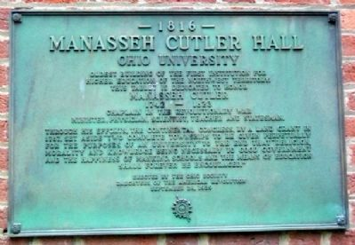 Manasseh Cutler Hall Marker image. Click for full size.