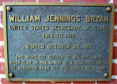 Ohio University's William Jennings Bryan Marker image. Click for full size.