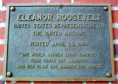 Ohio University's Eleanor Roosevelt Marker image. Click for full size.