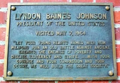 Ohio University's Lyndon Baines Johnson Marker image. Click for full size.