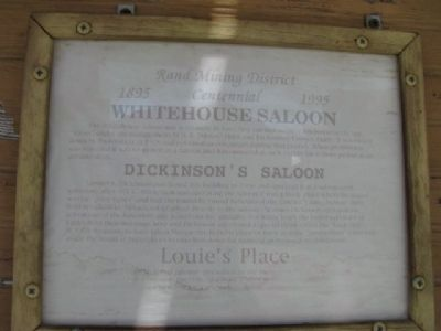 Whitehouse Saloon Marker image. Click for full size.