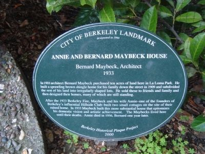 Annie and Bernard Maybeck House Marker image. Click for full size.