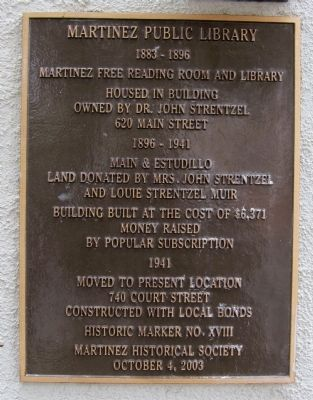 Martinez Public Library Marker image. Click for full size.