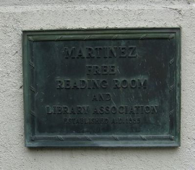 Martinez Free Reading Room Plaque image. Click for full size.