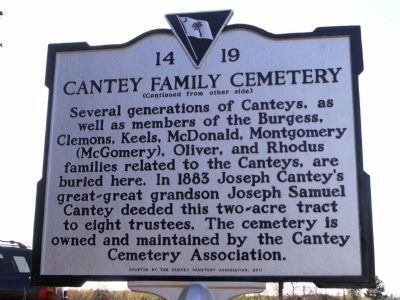 Cantey Family Cemetery Marker Reverse image. Click for full size.