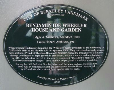Benjamin Ide Wheeler House and Garden Marker image. Click for full size.