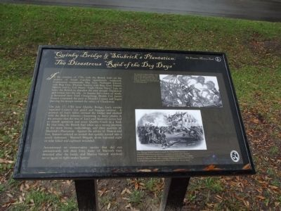 "Quinby Bridge & Shubrick's Plantation: The Disastrous ""Raid of the Dog Days"" Marker image. Click for full size."