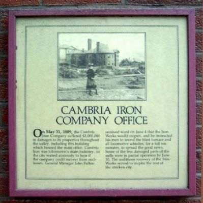 Cambria Iron Company Office Marker image. Click for full size.
