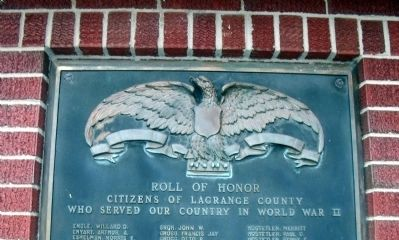 """E - L"" - - LaGrange County W. W. II Honor Rolls Marker image. Click for full size."