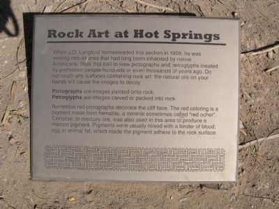Rock Art at Hot Springs Marker image. Click for full size.