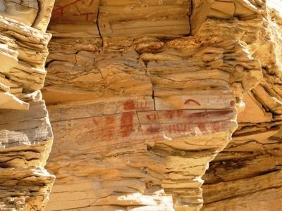 Sample photo of pictographs on cliff face image. Click for full size.