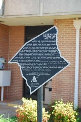 Anderson Regional Airport Marker image. Click for full size.