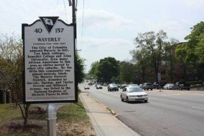 Waverly Marker, looking South along Harden Street image. Click for full size.