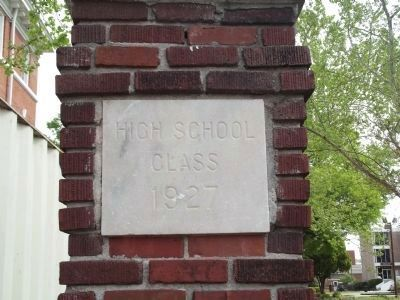 Marble plaque on brick column near marker image. Click for full size.