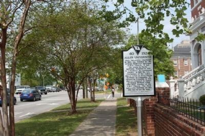 Allen University Marker, looking north along Harden Street image. Click for full size.
