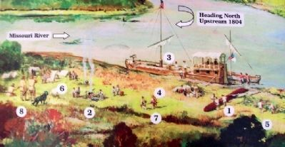 Painting on Encampment at Kaw's Mouth Marker image. Click for full size.
