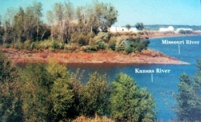 "Kaw Point photo no ""we determin to delay at this Place"" Marker image. Click for full size."