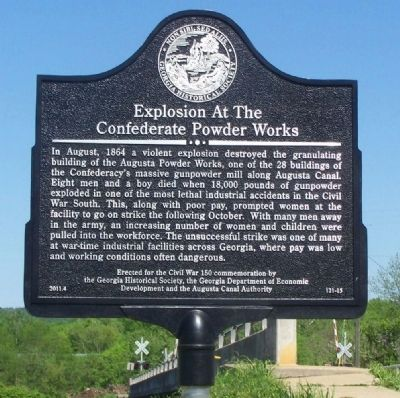 Explosion at the Confederate Powder Works Marker image. Click for full size.