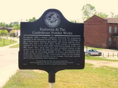Explosion at the Confederate Powder Works Marker along Eve Street at Pearl Avenue image. Click for full size.