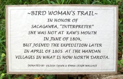 Bird Woman's Trail Marker image. Click for full size.