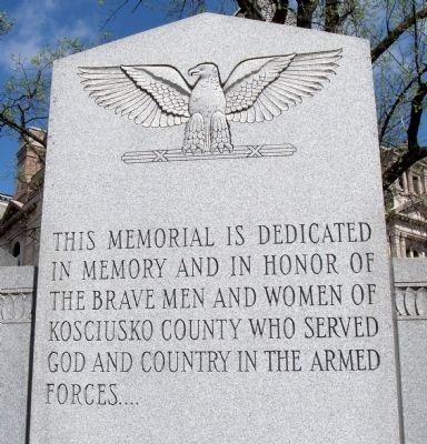 Top Center Panel - - Kosciusko County War Memorial Marker image. Click for full size.