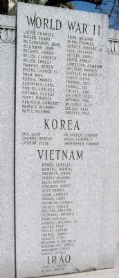 W.W. II - Korea - Vietnam - Iraq - - Names Listed image. Click for full size.